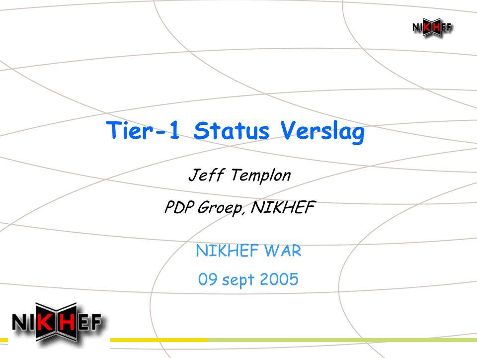 Jeff Templon – NIKHEF WAR, 2005.09.09 - 2 NIKHEF / SARA Tier-1 Plan u April dit jaar: herziening verdeling ALICE / ATLAS / LHCb n NIKHEF +- enige die 1/N model volgde n Geen enkel verband tussen inzet expt & bijdrage computing u presence Model n 4 : 2 : 1 LHCb : ATLAS : ALICE n Overall schaal bepaald door mogelijke funding u Resultaat: NIKHEF / SARA levert n 23,0% van de totale LHCb Tier-1 resources n 11,5 % van de totale ATLAS Tier-1 resources n 5,75 % van de totale ALICE Tier-1 resources
