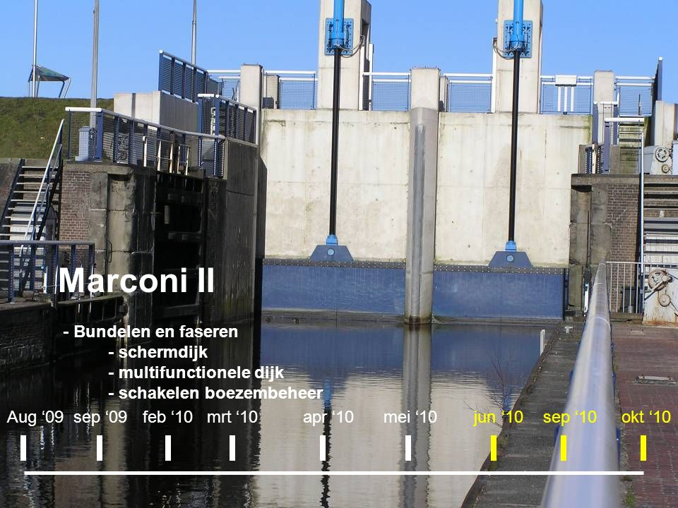 Marconi II - Bundelen en faseren - schermdijk - multifunctionele dijk - schakelen boezembeheer Aug '09sep '09apr '10okt '10mei '10mrt '10feb '10jun '10sep '10