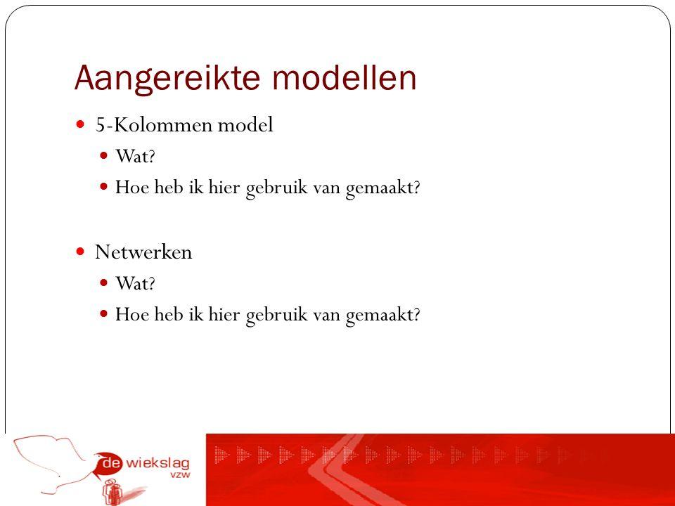 Aangereikte modellen 5-Kolommen model Wat? Hoe heb ik hier gebruik van gemaakt? Netwerken Wat? Hoe heb ik hier gebruik van gemaakt?