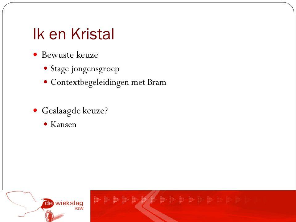 Ik en Kristal Bewuste keuze Stage jongensgroep Contextbegeleidingen met Bram Geslaagde keuze? Kansen
