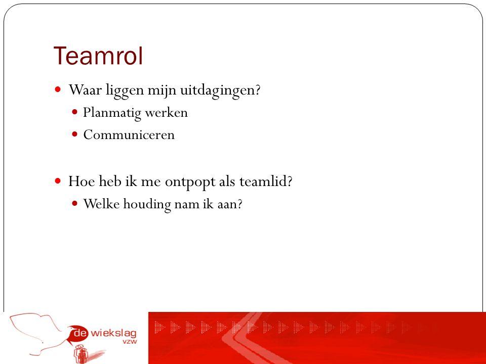 Teamrol Waar liggen mijn uitdagingen? Planmatig werken Communiceren Hoe heb ik me ontpopt als teamlid? Welke houding nam ik aan?