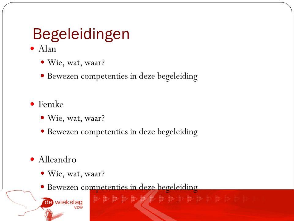Begeleidingen Alan Wie, wat, waar. Bewezen competenties in deze begeleiding Femke Wie, wat, waar.