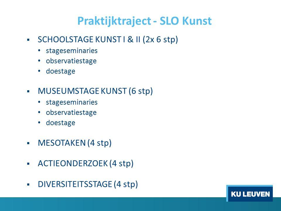 Praktijktraject - SLO Kunst  SCHOOLSTAGE KUNST I & II (2x 6 stp) stageseminaries observatiestage doestage  MUSEUMSTAGE KUNST (6 stp) stageseminaries observatiestage doestage  MESOTAKEN (4 stp)  ACTIEONDERZOEK (4 stp)  DIVERSITEITSSTAGE (4 stp)