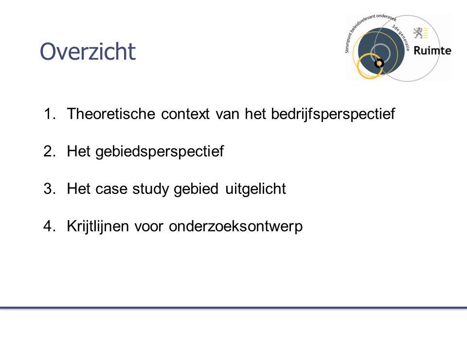 Overzicht 1.Theoretische context van het bedrijfsperspectief 2.Het gebiedsperspectief 3.Het case study gebied uitgelicht 4.Krijtlijnen voor onderzoeksontwerp