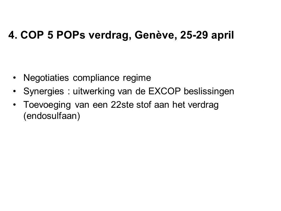 4. COP 5 POPs verdrag, Genève, 25-29 april Negotiaties compliance regime Synergies : uitwerking van de EXCOP beslissingen Toevoeging van een 22ste sto