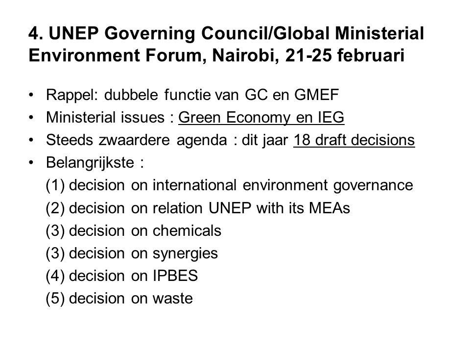 (1) Decision on international environment governance - bevestigen van incremental improvements - doorgeven systemwide reforms aan UNGA - doorgeven broader transformation aan Rio prepcoms - voet in de deur houden voor GC/GMEF in 2012 !!!.