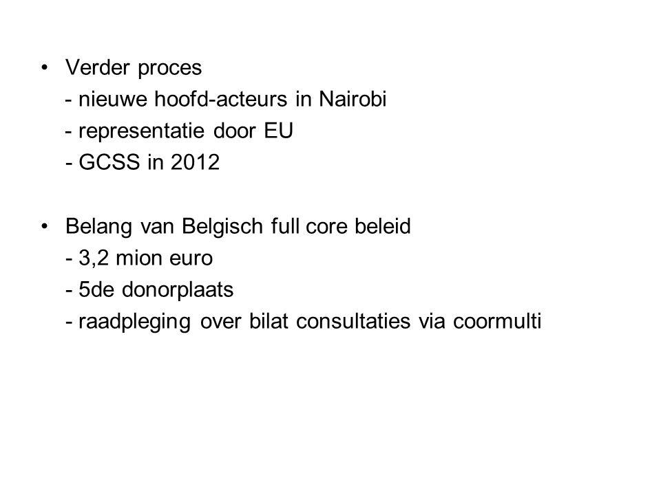 Verder proces - nieuwe hoofd-acteurs in Nairobi - representatie door EU - GCSS in 2012 Belang van Belgisch full core beleid - 3,2 mion euro - 5de donorplaats - raadpleging over bilat consultaties via coormulti