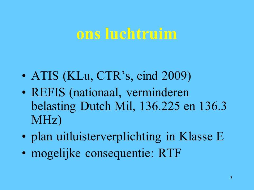 5 ons luchtruim ATIS (KLu, CTR's, eind 2009) REFIS (nationaal, verminderen belasting Dutch Mil, 136.225 en 136.3 MHz) plan uitluisterverplichting in Klasse E mogelijke consequentie: RTF
