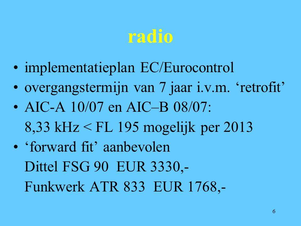 6 radio implementatieplan EC/Eurocontrol overgangstermijn van 7 jaar i.v.m. 'retrofit' AIC-A 10/07 en AIC–B 08/07: 8,33 kHz < FL 195 mogelijk per 2013