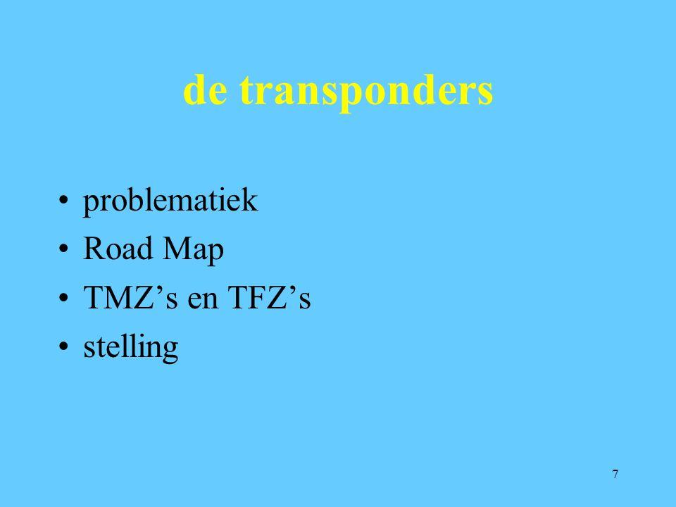 7 de transponders problematiek Road Map TMZ's en TFZ's stelling