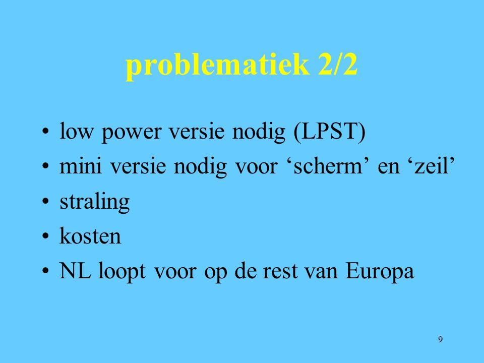 9 problematiek 2/2 low power versie nodig (LPST) mini versie nodig voor 'scherm' en 'zeil' straling kosten NL loopt voor op de rest van Europa