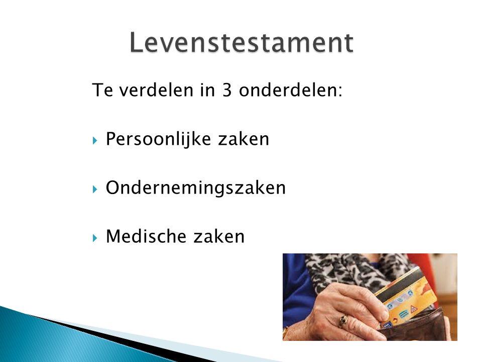 Te verdelen in 3 onderdelen:  Persoonlijke zaken  Ondernemingszaken  Medische zaken