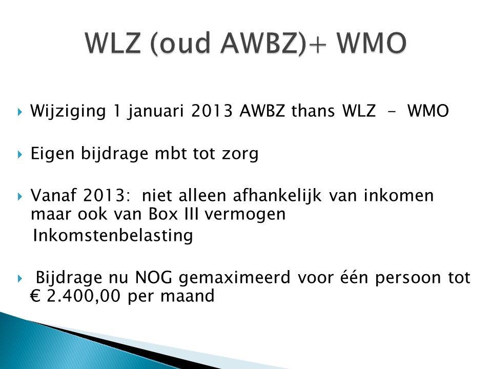  Wijziging 1 januari 2013 AWBZ thans WLZ - WMO  Eigen bijdrage mbt tot zorg  Vanaf 2013: niet alleen afhankelijk van inkomen maar ook van Box III vermogen Inkomstenbelasting  Bijdrage nu NOG gemaximeerd voor één persoon tot € 2.400,00 per maand