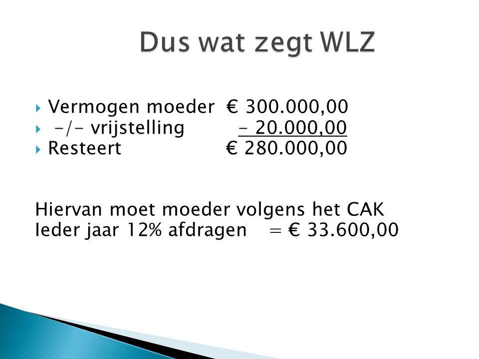  Vermogen moeder € 300.000,00  -/- vrijstelling - 20.000,00  Resteert € 280.000,00 Hiervan moet moeder volgens het CAK Ieder jaar 12% afdragen= € 33.600,00