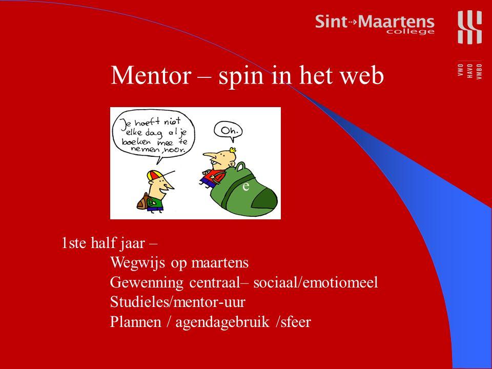 e 1ste half jaar – Wegwijs op maartens Gewenning centraal– sociaal/emotiomeel Studieles/mentor-uur Plannen / agendagebruik /sfeer Mentor – spin in het web