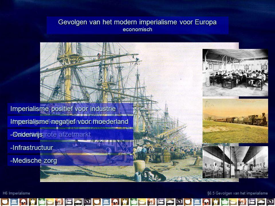 H6 Imperialisme §6.5 Gevolgen van het imperialisme Gevolgen van het modern imperialisme voor Europa economisch Imperialisme positief voor industrie -Import goedkope grondstoffen -Koloniën grote afzetmarkt Imperialisme negatief voor moederland -Onderwijs -Infrastructuur -Medische zorg