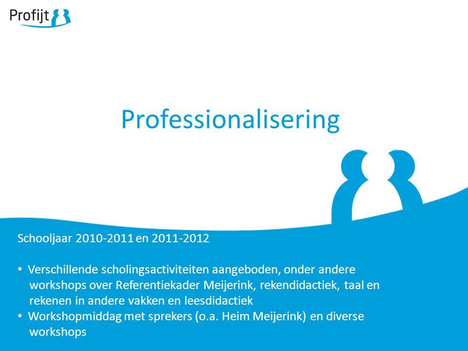 Professionalisering Schooljaar 2010-2011 en 2011-2012 Verschillende scholingsactiviteiten aangeboden, onder andere workshops over Referentiekader Meijerink, rekendidactiek, taal en rekenen in andere vakken en leesdidactiek Workshopmiddag met sprekers (o.a.