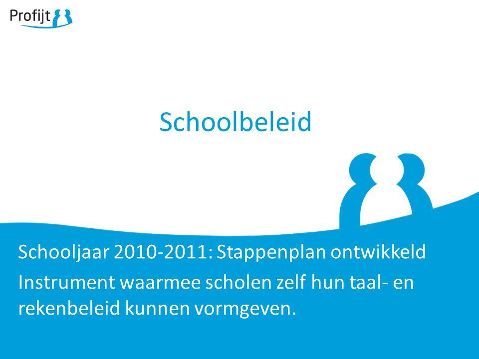 Schoolbeleid Schooljaar 2010-2011: Stappenplan ontwikkeld Instrument waarmee scholen zelf hun taal- en rekenbeleid kunnen vormgeven.