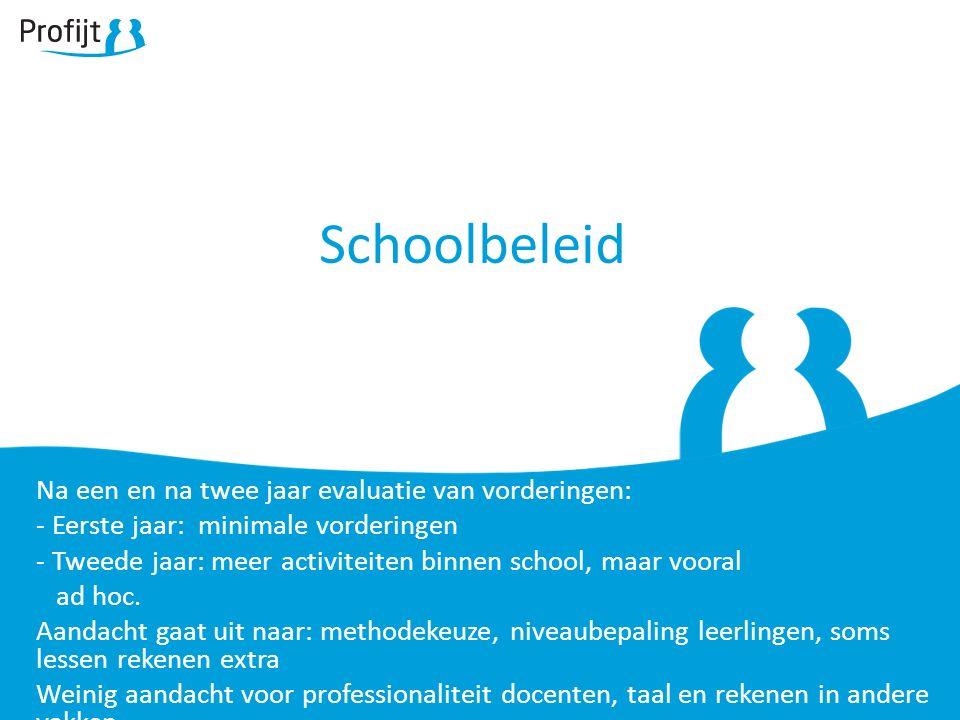 Schoolbeleid Na een en na twee jaar evaluatie van vorderingen: - Eerste jaar: minimale vorderingen - Tweede jaar: meer activiteiten binnen school, maar vooral ad hoc.