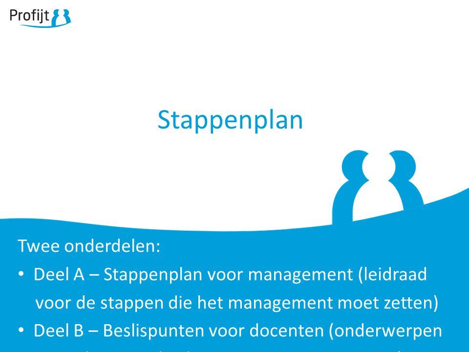 Stappenplan Twee onderdelen: Deel A – Stappenplan voor management (leidraad voor de stappen die het management moet zetten) Deel B – Beslispunten voor docenten (onderwerpen waar docenten besluiten over moeten nemen)