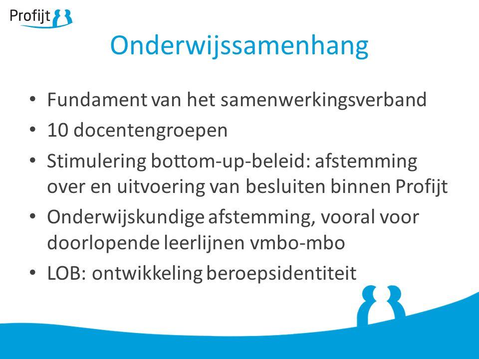 Fundament van het samenwerkingsverband 10 docentengroepen Stimulering bottom-up-beleid: afstemming over en uitvoering van besluiten binnen Profijt Onderwijskundige afstemming, vooral voor doorlopende leerlijnen vmbo-mbo LOB: ontwikkeling beroepsidentiteit Onderwijssamenhang