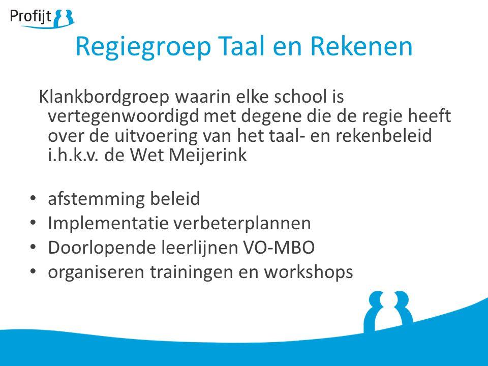 Klankbordgroep waarin elke school is vertegenwoordigd met degene die de regie heeft over de uitvoering van het taal- en rekenbeleid i.h.k.v.