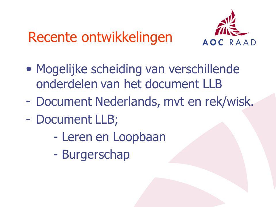 Recente ontwikkelingen Mogelijke scheiding van verschillende onderdelen van het document LLB - Document Nederlands, mvt en rek/wisk.