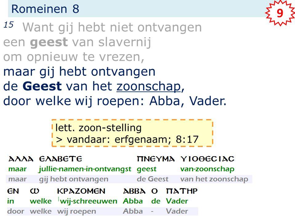 Romeinen 8 15 Want gij hebt niet ontvangen een geest van slavernij om opnieuw te vrezen, maar gij hebt ontvangen de Geest van het zoonschap, door welk