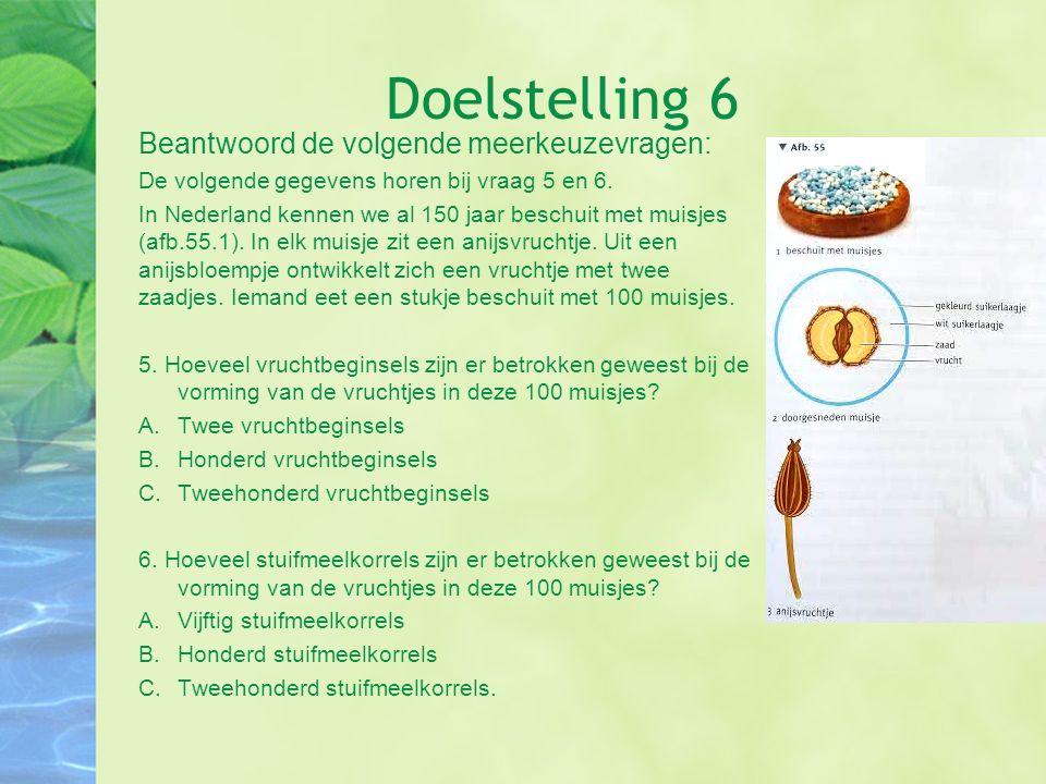 Doelstelling 6 Beantwoord de volgende meerkeuzevragen: De volgende gegevens horen bij vraag 5 en 6. In Nederland kennen we al 150 jaar beschuit met mu