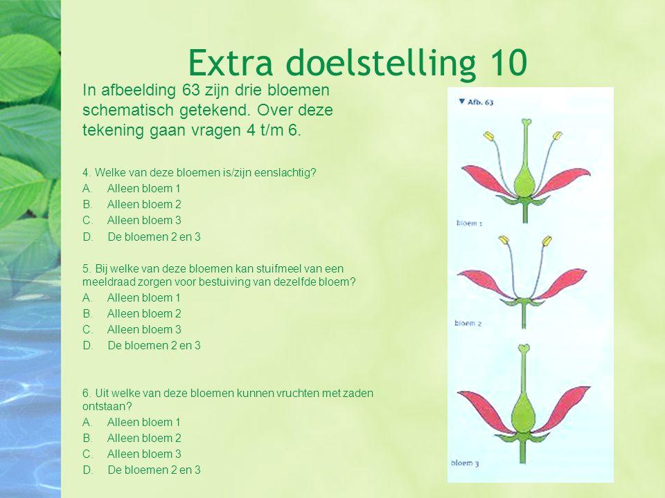 Extra doelstelling 10 In afbeelding 63 zijn drie bloemen schematisch getekend. Over deze tekening gaan vragen 4 t/m 6. 4. Welke van deze bloemen is/zi