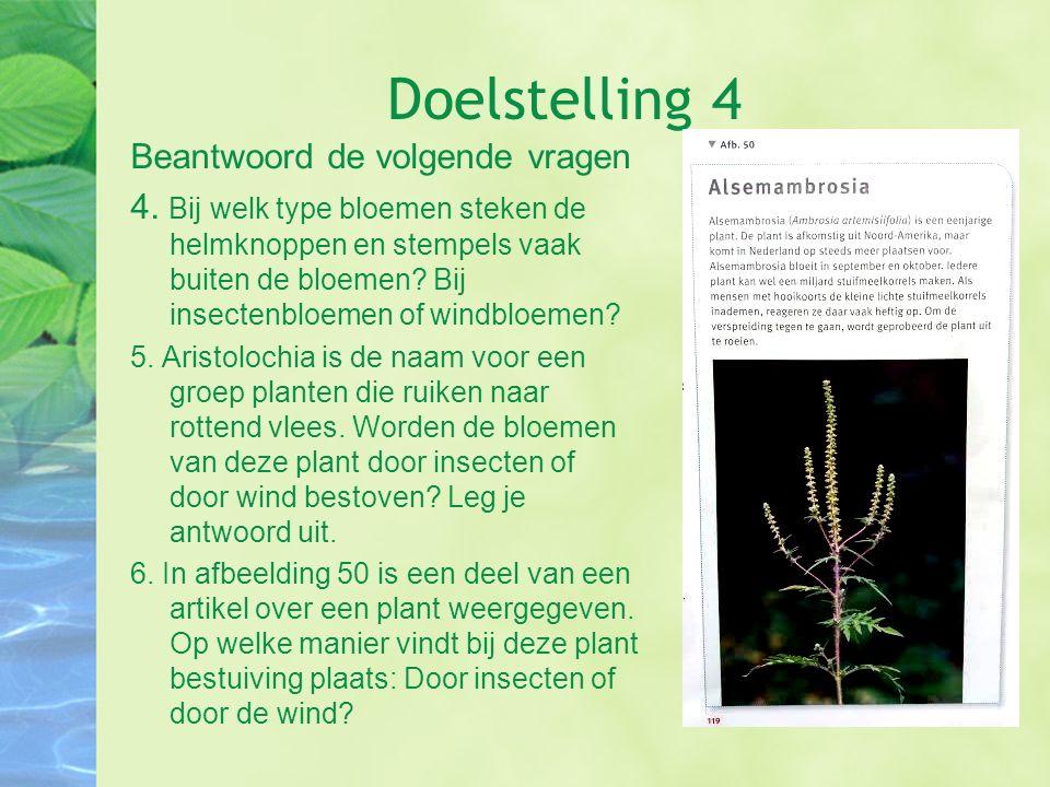 Doelstelling 4 Beantwoord de volgende vragen 4. Bij welk type bloemen steken de helmknoppen en stempels vaak buiten de bloemen? Bij insectenbloemen of