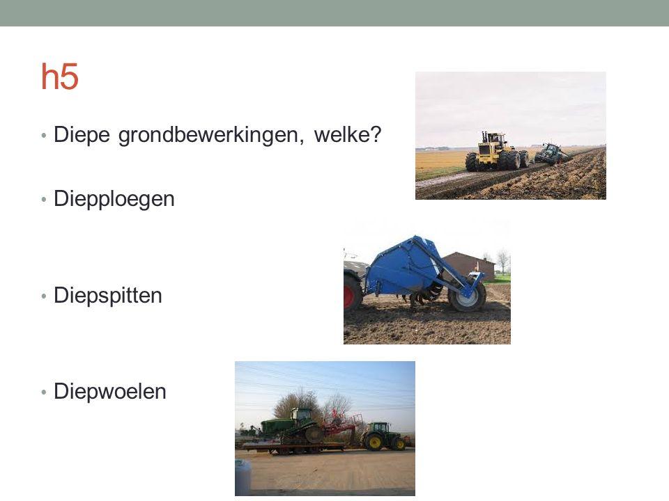 h5 Diepe grondbewerkingen, welke? Diepploegen Diepspitten Diepwoelen