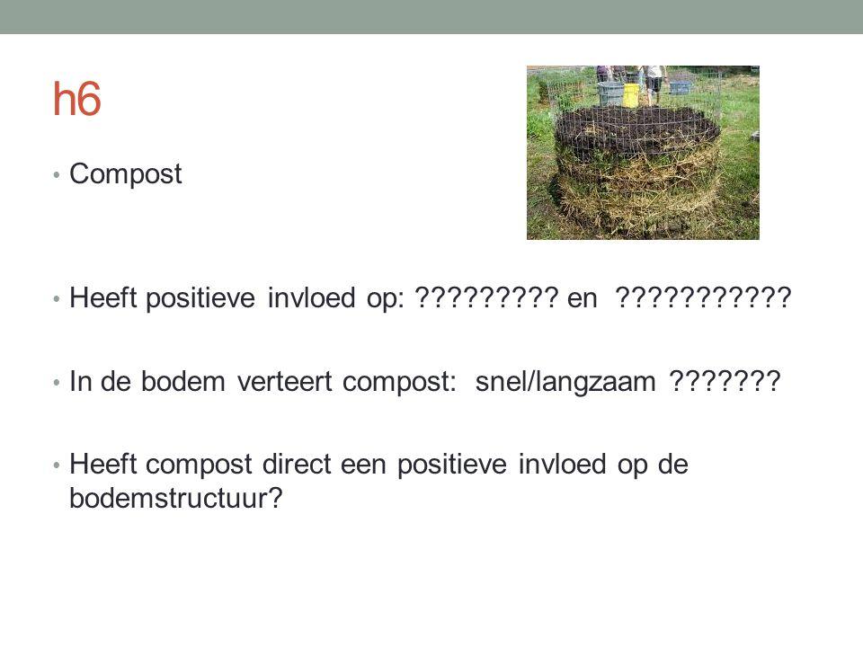 h6 Compost Heeft positieve invloed op: ????????? en ??????????? In de bodem verteert compost: snel/langzaam ??????? Heeft compost direct een positieve