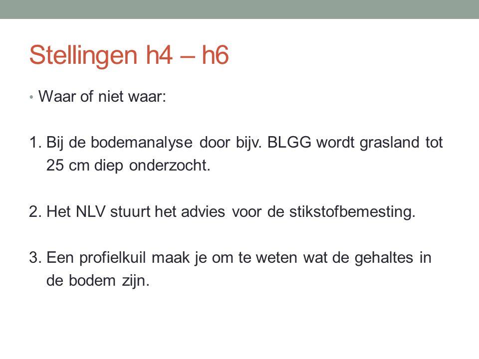 Stellingen h4 – h6 Waar of niet waar: 1. Bij de bodemanalyse door bijv. BLGG wordt grasland tot 25 cm diep onderzocht. 2. Het NLV stuurt het advies vo