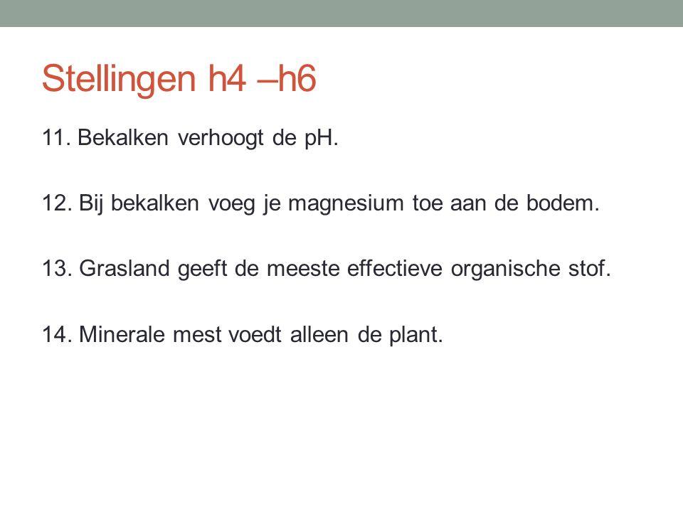 Stellingen h4 –h6 11. Bekalken verhoogt de pH. 12. Bij bekalken voeg je magnesium toe aan de bodem. 13. Grasland geeft de meeste effectieve organische