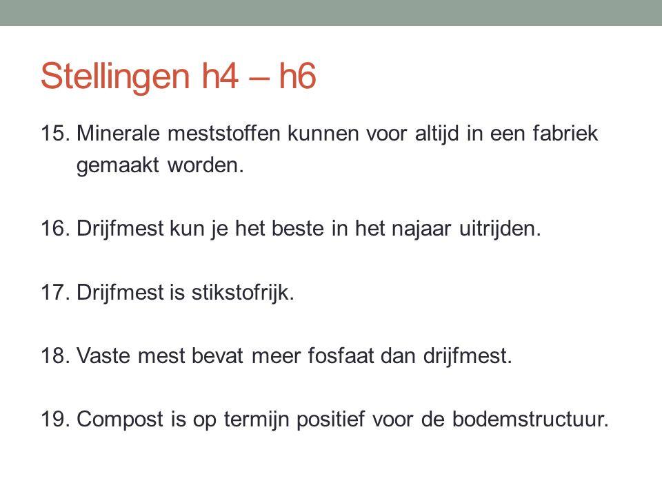 Stellingen h4 – h6 15. Minerale meststoffen kunnen voor altijd in een fabriek gemaakt worden. 16. Drijfmest kun je het beste in het najaar uitrijden.