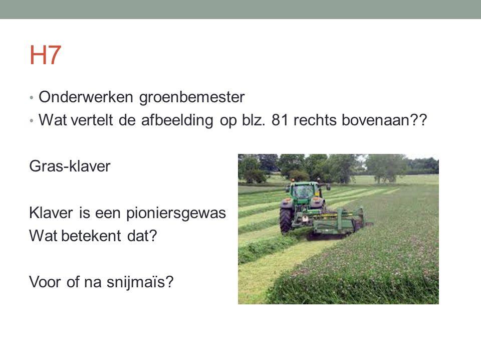 H7 Onderwerken groenbemester Wat vertelt de afbeelding op blz. 81 rechts bovenaan?? Gras-klaver Klaver is een pioniersgewas Wat betekent dat? Voor of