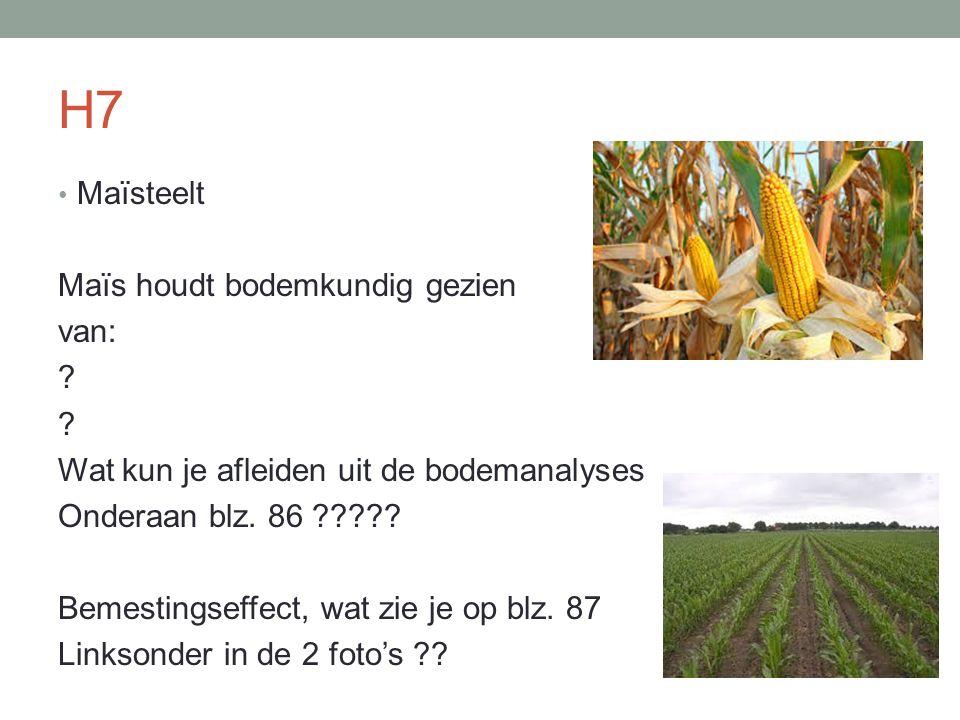 Maïsteelt Maïs houdt bodemkundig gezien van: ? Wat kun je afleiden uit de bodemanalyses Onderaan blz. 86 ????? Bemestingseffect, wat zie je op blz. 87