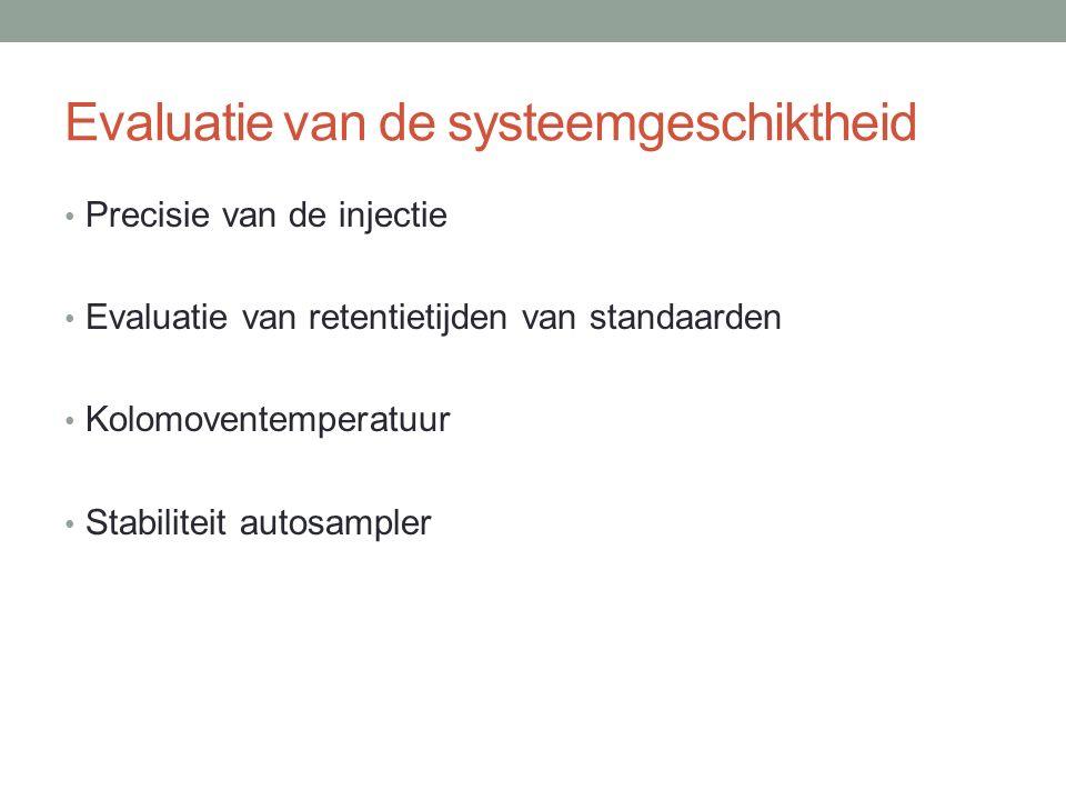 Evaluatie van de systeemgeschiktheid Precisie van de injectie Evaluatie van retentietijden van standaarden Kolomoventemperatuur Stabiliteit autosample