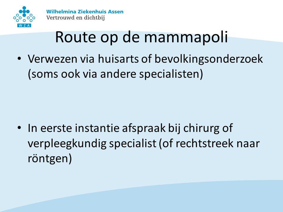 Route op de mammapoli Verwezen via huisarts of bevolkingsonderzoek (soms ook via andere specialisten) In eerste instantie afspraak bij chirurg of verp