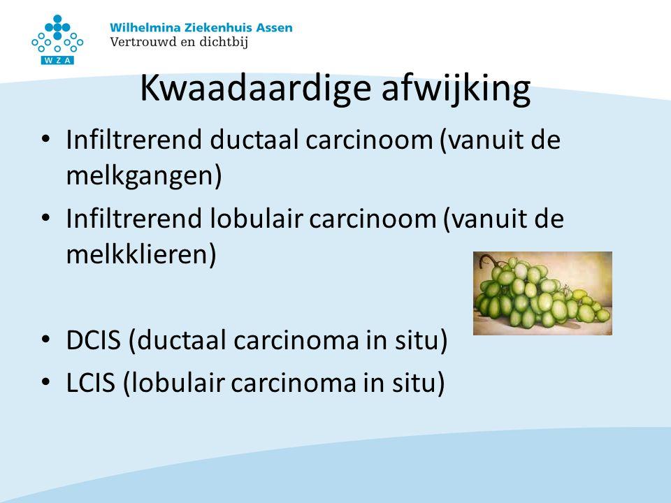 Kwaadaardige afwijking Infiltrerend ductaal carcinoom (vanuit de melkgangen) Infiltrerend lobulair carcinoom (vanuit de melkklieren) DCIS (ductaal car