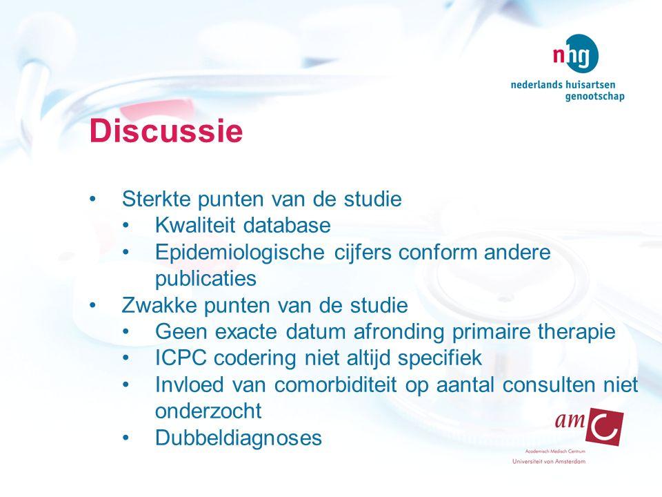 Discussie Sterkte punten van de studie Kwaliteit database Epidemiologische cijfers conform andere publicaties Zwakke punten van de studie Geen exacte