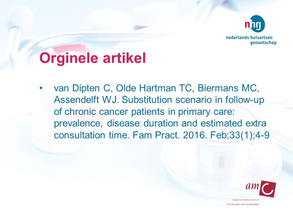 Orginele artikel van Dipten C, Olde Hartman TC, Biermans MC, Assendelft WJ. Substitution scenario in follow-up of chronic cancer patients in primary c