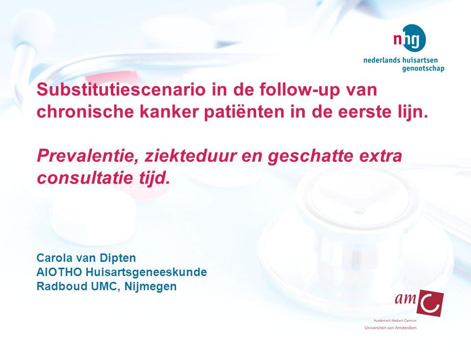 Substitutiescenario in de follow-up van chronische kanker patiënten in de eerste lijn. Prevalentie, ziekteduur en geschatte extra consultatie tijd. Ca