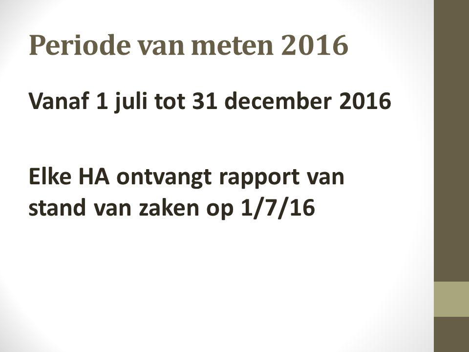 Periode van meten 2016 Vanaf 1 juli tot 31 december 2016 Elke HA ontvangt rapport van stand van zaken op 1/7/16