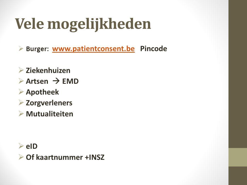 Vele mogelijkheden  Burger: www.patientconsent.be Pincode www.patientconsent.be  Ziekenhuizen  Artsen  EMD  Apotheek  Zorgverleners  Mutualiteiten  eID  Of kaartnummer +INSZ