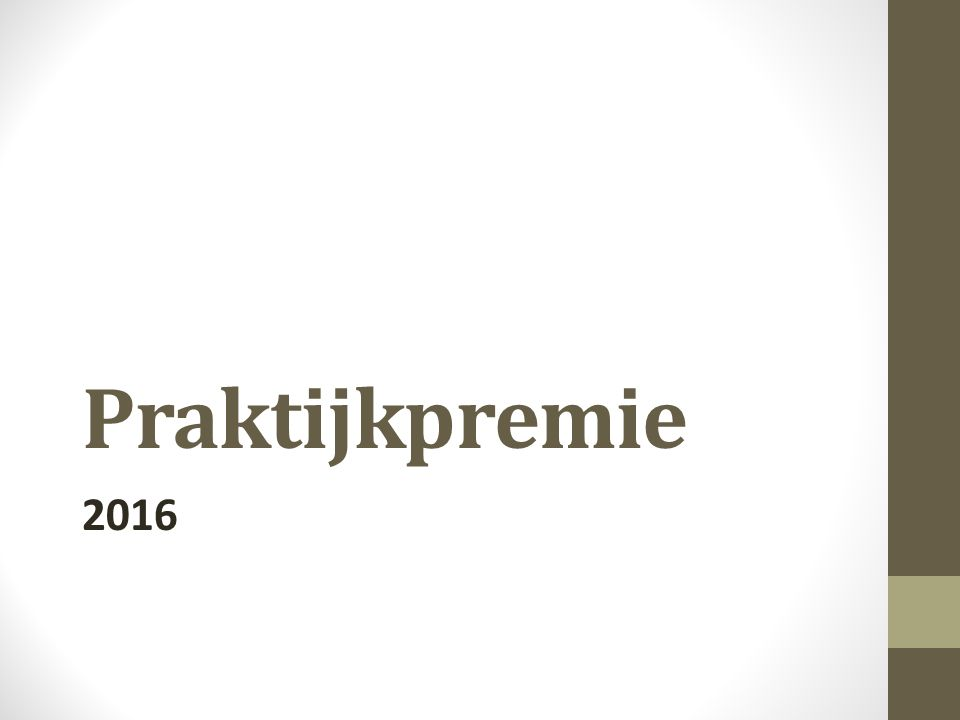 Praktijkpremie 2016