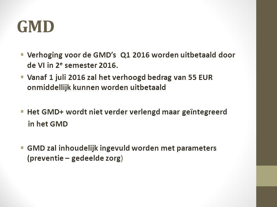 GMD  Verhoging voor de GMD's Q1 2016 worden uitbetaald door de VI in 2 e semester 2016.