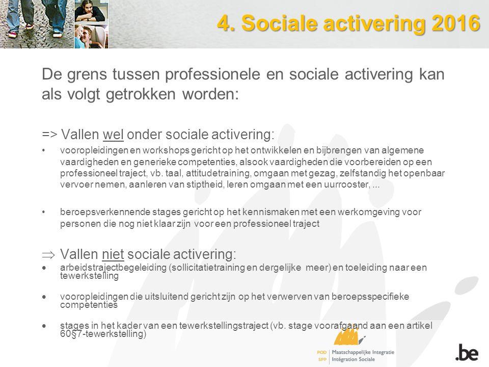 4. Sociale activering 2016 De grens tussen professionele en sociale activering kan als volgt getrokken worden: => Vallen wel onder sociale activering: