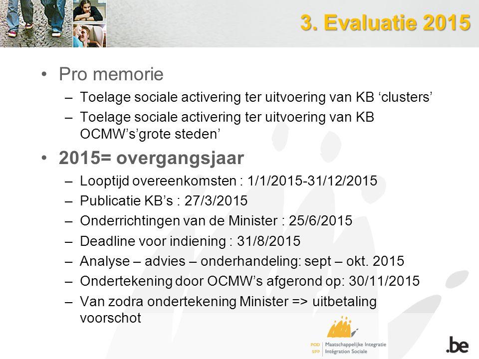 3. Evaluatie 2015 Pro memorie –Toelage sociale activering ter uitvoering van KB 'clusters' –Toelage sociale activering ter uitvoering van KB OCMW's'gr